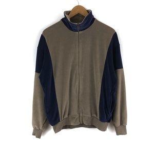 Vintage Navy & Tan Color Block Track Jacket / M